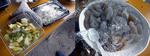 【B.B団】 忘年会15  居酒屋『川』 宴の次の日 朝食 I母さん、ありがとう!! お新香・フルーちゅ&刺身こんにゃく